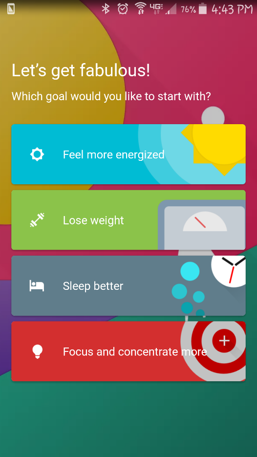 Fabulous App menu items to feel great, lose weight, sleep better, and be more focused